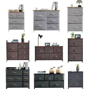 Chest of Drawers Storage Cabinet Unit Bedside Table with Fabric Drawers for Home