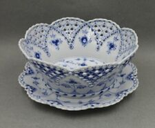 Royal Copenhagen Blue Fluted Full Lace 1061  Fruit Basket & Stand 1st Quality