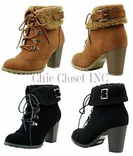 Women High Chunky Heels Ankle Bootie Faux Shearling Fur Lace Up Lug Work Boots