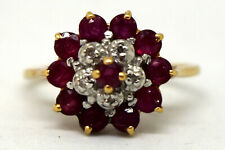10K Solid Gold, Natural Ruby and Diamond Ring Size 5