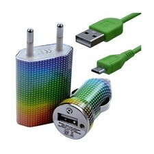 Mini Chargeur 3en1 Auto + Secteur USB + Câble Data avec CV13 pour HTC : One /