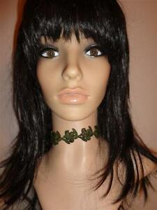 GREEN venise lace trim CHOKER ribbon handmade victorian necklace grapes leaf