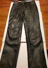 Harley Davidson Leather Front Stretch Riding Pants Black Women's Size 36/8