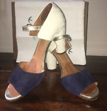 Chie Mihara ~ Navy Suede & Cream Leather Sandal Shoe W High Heel eu38.5 UK5.5