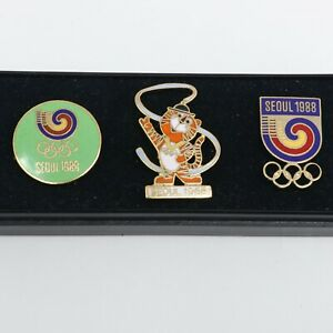New in Case Set of 3 1988 Seoul Olympic Games Lapel Pins