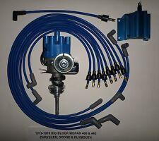 MOPAR 440 1973-1978 BLUE Small Female Cap HEI Distributor, coil,Spark Plug Wires