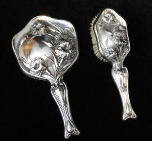 Vintage ANTIQUE Art Nouveau QUADRUPLE PLATE Silverplate HAND MIRROR & HAIR BRUSH