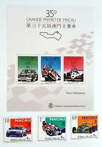 3 Stamps + Bloc Macau Macao China 1988 35th Grand Prize New MNH b09