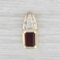 1.10ct Garnet Diamond Pendant 10k Yellow Gold January Birthstone