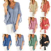 Womens Casual 3/4 Sleeve T-Shirt Criss Cross Front V-Neck Tops Blouse Plus Size