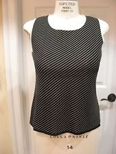 MISOOK - Ladies sleeveless scoop neck top - Black & Ivory Diagonal Stripe  Sz M