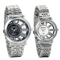 Couples Unique Design Hollow Roman Numberals Dial Steel Band Quartz Wrist Watch