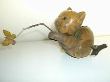 Rare old vintage, cat chasing butterfly, wind-up tin toy of 50's, made in Japan.