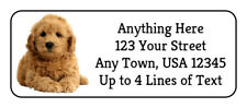 60 Goldendoodle Puppy #2 Dog on White Glossy Photo Quality Return Address Labels