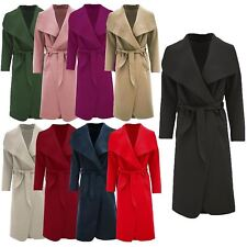 Womens Shawl Collar Belted Long Italian Drape Waterfall Coat Jacket Winter Cape