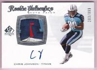 CHRIS JOHNSON RC 2008 SP AUTHENTIC 5 COLOR ROOKIE LOGO PATCH AUTO #203/999 RPA
