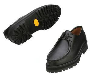 Firenze Atelier Men's Embo Black Leather Moc Toe Derby Wallabee Shoes W/ Vibram