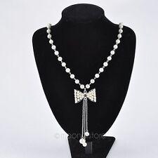 XXL 73cm Cadena con perlas Lazo Collar De Perlas Cadena Color Plata Nuevo 1159