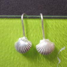 Fine Sterling Silver 925 Earrings Thai Women Jewelry Small Shell Ocean 0707