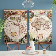 World Map 2 Piece Framed Graphic Art on Wrapped Canvas Set,24''Hx36''Wx2''D (C1)