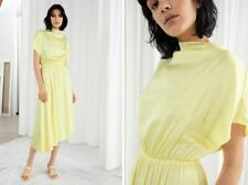 And Other Stories Asymmetric Yellow Satin Midi Dress - Size US 8