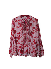 Matilda Jane Miri pink red floral ruffle boho blouse women's size Medium