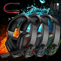 LED Gaming Headset Headphone Noise Reduction Mic Surround Sound for PS5/Xbox one