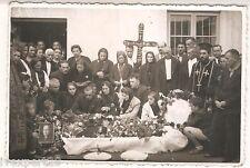 Post Mortem woman open coffin casket vintage real photo 1940's #6a