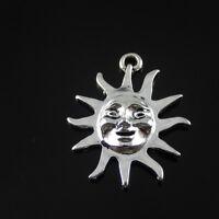15PCS Antique Style Silver Alloy Sun Smile Face Pendant Charms Crafts 38979