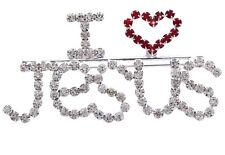 I LOVE JESUS Letter Word Heart Christian Brooch Pin Women Fashion Jewelry p50