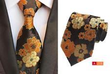 Fiore Cravatta Marrone Arancione e Giallo con Motivo Artigianale 8cm 100%