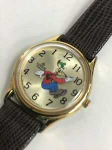 Vintage Lorus Disney Goofy r Backwards Analog Quartz Watch Hour #285