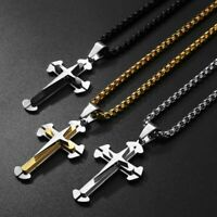 Stainless Steel Box Link Cross Pendant Necklace Christian Crucifix Charm Jewelry