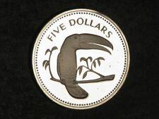 BELIZE 1974 5 Dollars Toucan Silver Crown Proof