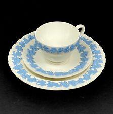 Vtg Wedgwood Queensware Set Tea Cup & Saucer & Salad Plate Lavender on Cream 60s