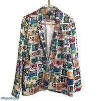 Topshop Women's Blazer Size 6 Colorful Postage Stamp Lined Long Sleeve Casual