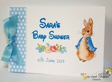 PERSONALISED PETER RABBIT- PINK OR BLUE BABY SHOWER / CHRISTENING GUEST BOOK