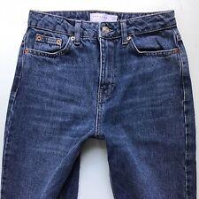Ladies Topshop Moto Mom Blue Stone wash Jeans Size 6 W25 L30 Ankle Grazer (897G)