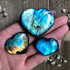 Natural Labradorite Quartz Crystal Heart Polished Moonstone Healing Specimens