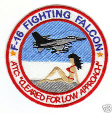 "F-16 FALCON HUMOROUS PATCH, RED BIKINI ON BEACH, ""CLEARED FOR LOW APPROACH""    Y"