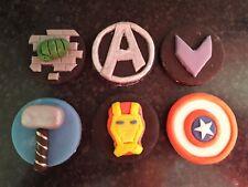 X 6 Avengers edible sugar birthday cake, cupcake topper decorations.