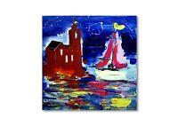 Abstrakte Kunst Moderne Malerei Unikat Schiff Yacht Gemälde Meer Wandbild Nr1052