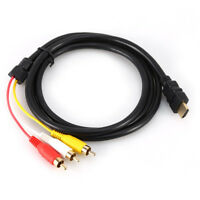 1.5M 1080P HDTV HDMI Male to 3 RCA Audio Video AV Cable Cord Adapter Wholesale