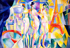 La ville de Paris 75cm x 52cm by Robert Delaunay High Quality Canvas Print