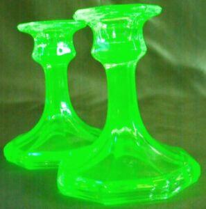 VINTAGE c1920 PAIR URANIUM GLASS GREEN CANDLESTICKS vaseline glass art deco