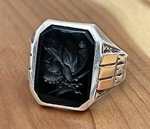 Vintage 10K Gold Sterling Silver Intaglio Black Onyx Roman Soldier Ring Sz 10.75