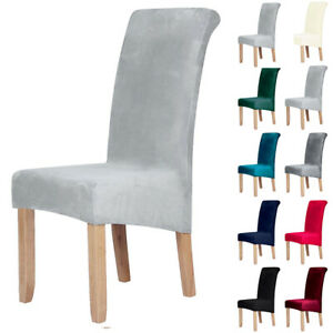 UK Velvet Dining Chair Covers Protective Slipcover Polyester Seat Covers Home