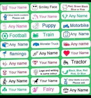 28 Printed Iron-On Name Tags Tapes Custom Labels School Clothes Personalised Kid