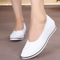 Womens Girl Canvas Wedge Heels Sneakers Dancing Pumps Slip On Casual Nurse Shoes