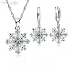 925 Silver CZ Cross Snowflake Necklace and Earrings Party Gift Jewellery Set
